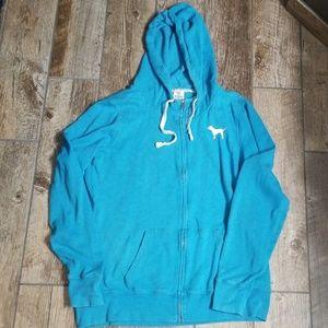 PINK Victoria's Secret blue hoodie size large